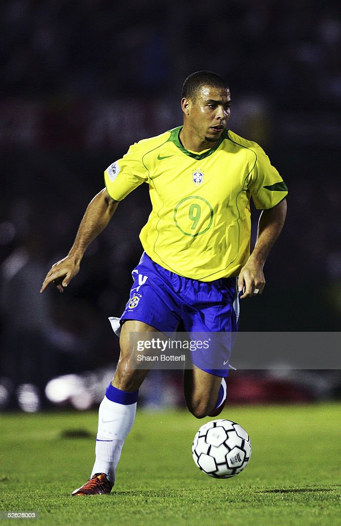 Ronaldo of Brazil in action during the 2006 World Cup Qualifier South American Group match between Uruguay and Brazil at the Centenario Stadium on March 30, 2005 in Montevideo, Uruguay.