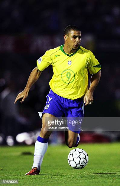 Ronaldo of Brazil in action during the 2006 World Cup Qualifier South American Group match between Uruguay and Brazil at the Centenario Stadium on...