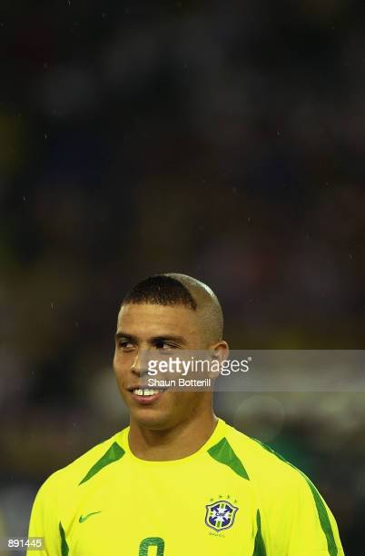 Ronaldo of Brazil lines up before the World Cup Final match between Germany and Brazil played at the International Stadium Yokohama Yokohama Japan on...