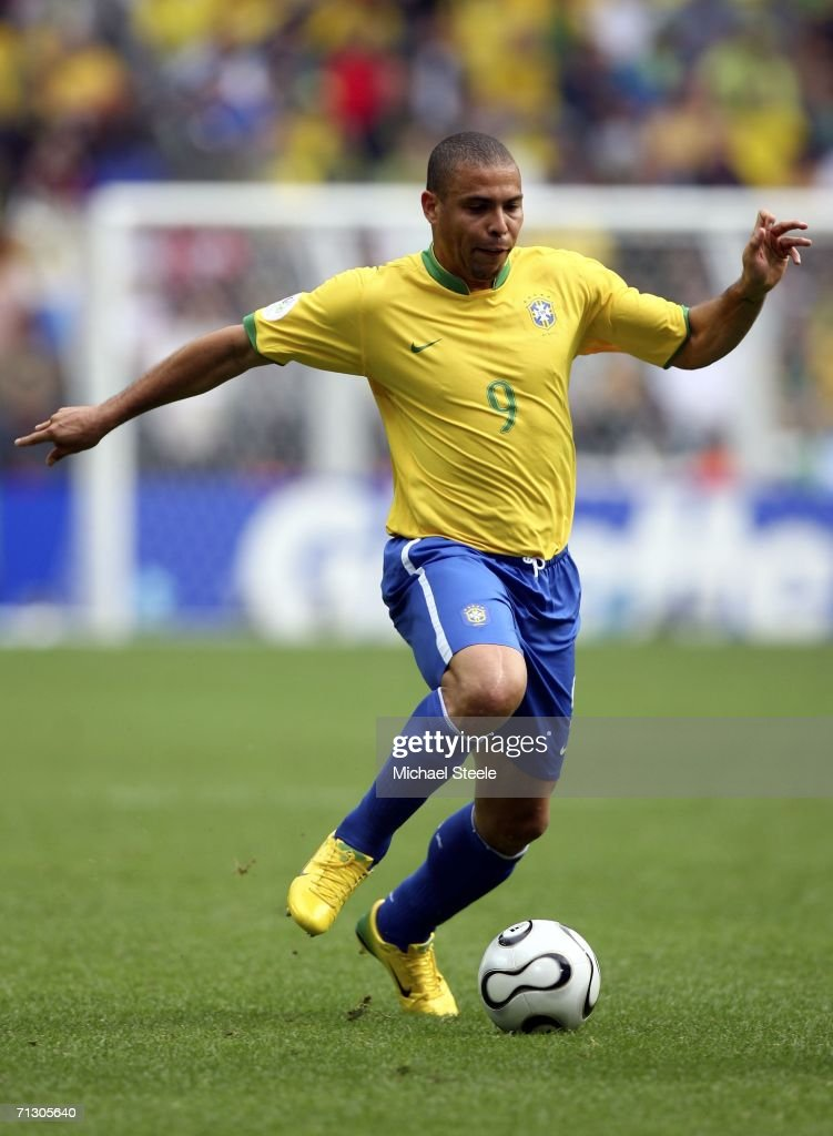 Ronaldo of Brazil runs with the ball during the FIFA World Cup Germany 2006 Round of 16 match between Brazil and Ghana at the Stadium Dortmund on June 27, 2006 in Dortmund, Germany.