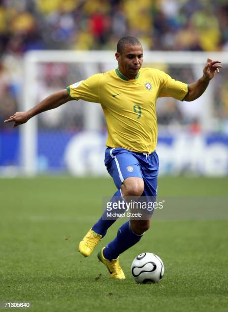 Ronaldo of Brazil runs with the ball during the FIFA World Cup Germany 2006 Round of 16 match between Brazil and Ghana at the Stadium Dortmund on...