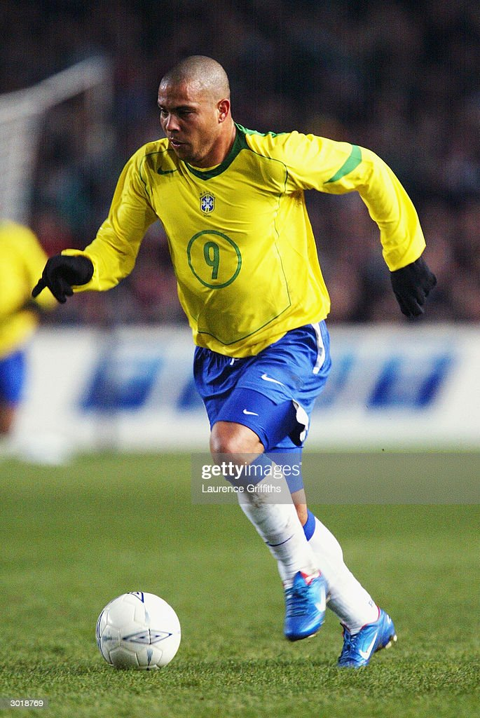 Ronaldo of Brazil runs with the ball during the International Friendly match between Republic of Ireland and Brazil held on February 18, 2004 at Lansdowne Road, in Dublin, Ireland. The match ended in a 0-0 draw.
