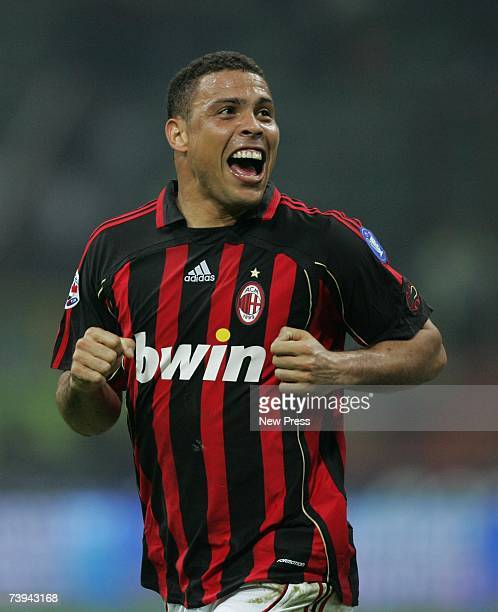 Ronaldo of Milan celebrates celebrates his goal during the match between Milan and Cagliari on April 21 2007 in Turin Italy