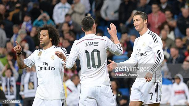 Ronaldo of Real Madrid celebrate his score during the La Liga match between Real Madrid and Malaga at Estadio Santiago Bernabeu in Madrid Spain on...