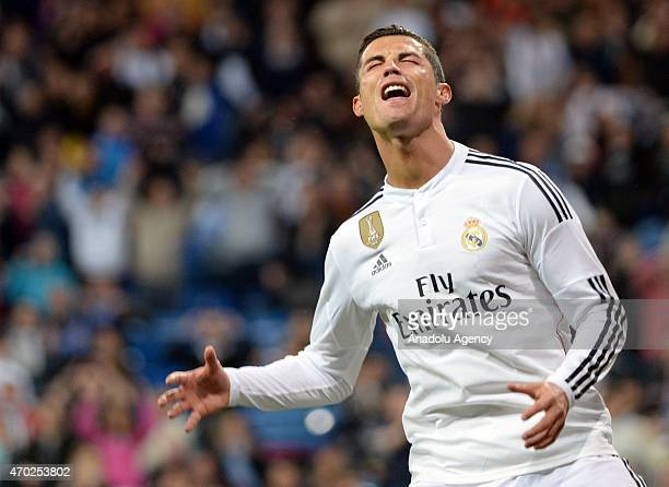 Ronaldo of Real Madrid during the La Liga match between Real Madrid and Malaga at Estadio Santiago Bernabeu in Madrid Spain on April 18 2015
