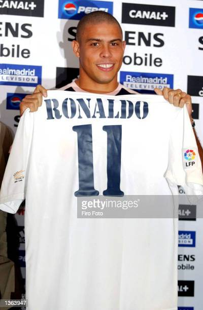 Ronaldo of Real Madrid during the press conference to announce his signing for Real Madrid at the Santiago Bernabeu Stadium Madrid on September 2 2002