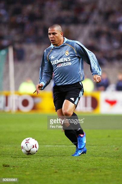 Ronaldo of Real Madrid in action against Espanyol of the Spanish Primera Liga played at the Estadio Olimpico de Montjuic Barcelona 21 Feb 2004...