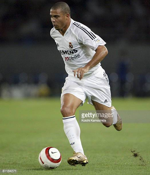 Ronaldo of Real Madrid in action during a friendly match between Tokyo Verdy 1969 and Real Madrid at Ajinomoto Stadium on August 1 2004 in Tokyo Japan