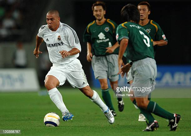Ronaldo of Real Madrid in action during the preseason friendly match between Tokyo Verdy 1969 and Real Madrid at Ajinomoto Stadium on July 25 2005 in...