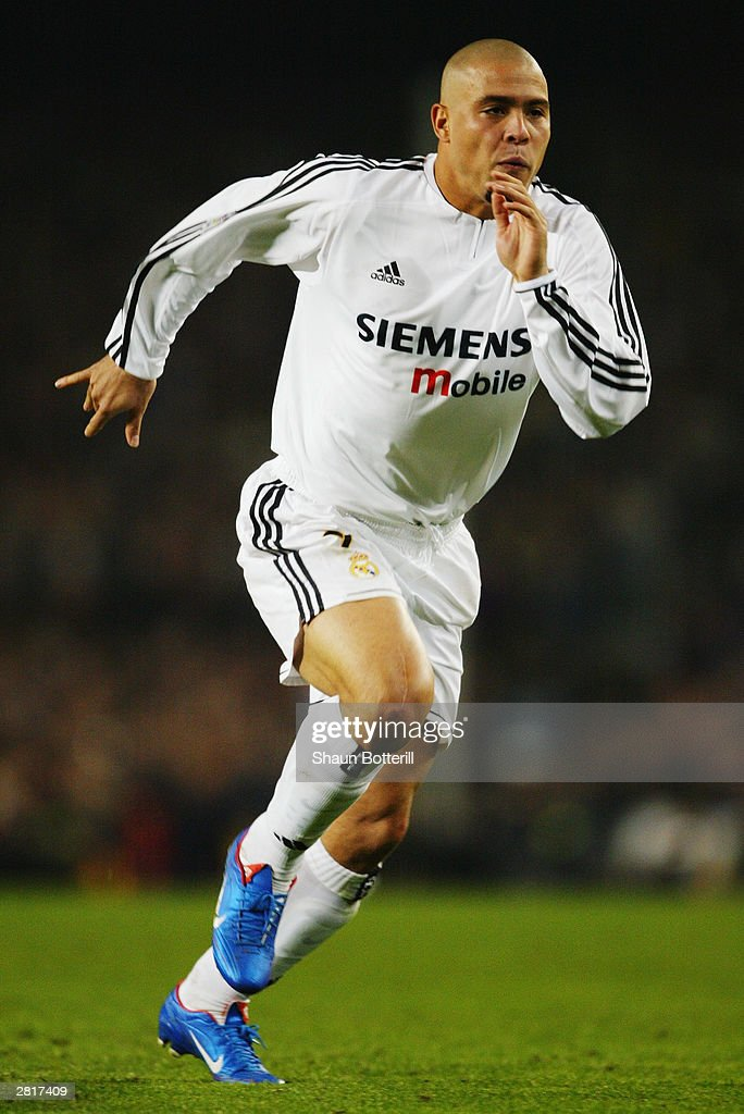 Ronaldo of Real Madrid in action during the Spanish Primera Liga match between Barcelona and Real Madrid on December 6, 2003 at the Nou Camp Stadium in Barcelona, Spain. Real Madrid won the match 2-1.