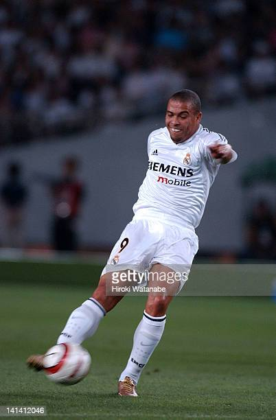 Ronaldo of Real Madrid scores the second goal during the preseason friendly match between Tokyo Verdy 1969 and Real Madrid at Ajinomoto Stadium on...