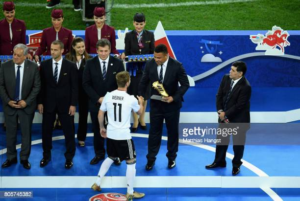 Ronaldo presents Timo Werner of Germany with the golden boot award after the FIFA Confederations Cup Russia 2017 Final between Chile and Germany at...