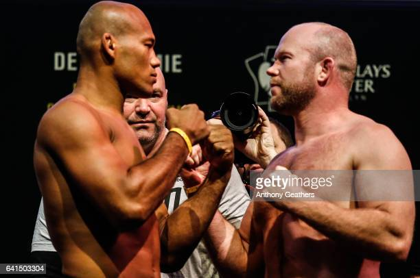 Ronaldo Souza and Tim Boetsch faces off after weighing in during the UFC 208 weighin inside Kings Theater on February 10 2017 in the Brooklyn borough...