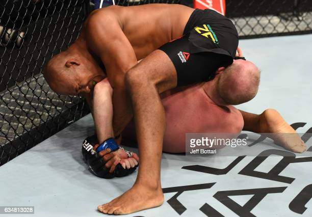 Ronaldo Souza of Brazil attempts to submit Tim Boetsch in their middleweight bout during the UFC 208 event inside Barclays Center on February 11 2017...