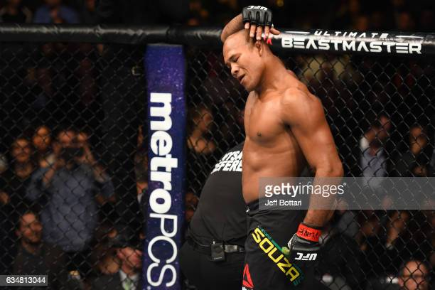 Ronaldo Souza of Brazil celebrates his submission victory over Tim Boetsch in their middleweight bout during the UFC 208 event inside Barclays Center...