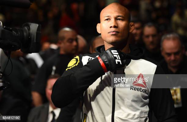 Ronaldo Souza of Brazil prepares to enter the Octagon before facing Tim Boetsch in their middleweight bout during the UFC 208 event inside Barclays...