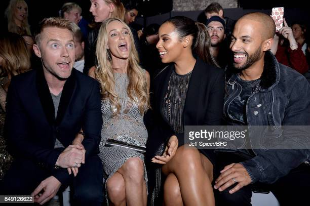 Ronan and Storm Keating with Rochelle and Marvin Humes attending the Julien Macdonald show during London Fashion Week September 2017 on September 18...