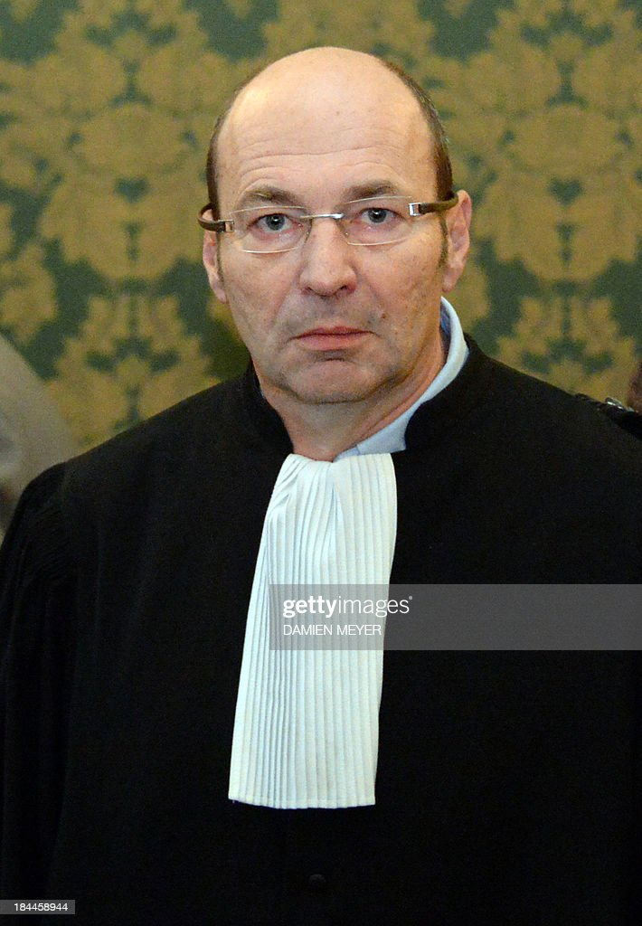 Ronan Appere, lawyer of one of the three Somali pirates arrested by French soldiers in 2009 is pictured, on October 14, 2013 at Rennes' courthouse, prior to the opening hearing of the pirates' trial for hijacking a yacht in 2009. French troops stormed the Tanit sailboat on April 10, 2009 and captured the trio in a bid to free Florent Lemacon, his wife, their three-year-old son and two others.