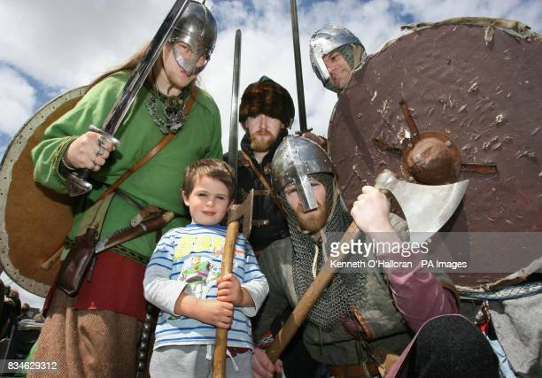 Ronan Bourke from Dundalk with a group of unnamed Vikings before the Sea Stallion of Glendalough a replica Viking longship set off on a mammoth 1400...