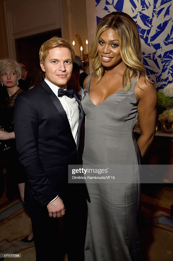 Ronan Farrow (L) and Laverne Cox attend the Bloomberg & Vanity Fair cocktail reception following the 2015 WHCA Dinner at the residence of the French Ambassador on April 25, 2015 in Washington, DC.
