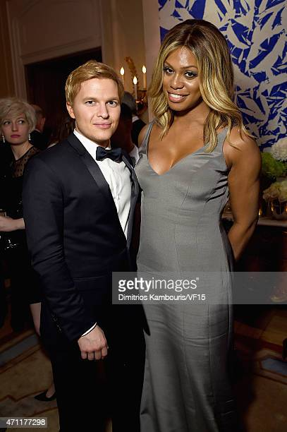 Ronan Farrow and Laverne Cox attend the Bloomberg Vanity Fair cocktail reception following the 2015 WHCA Dinner at the residence of the French...