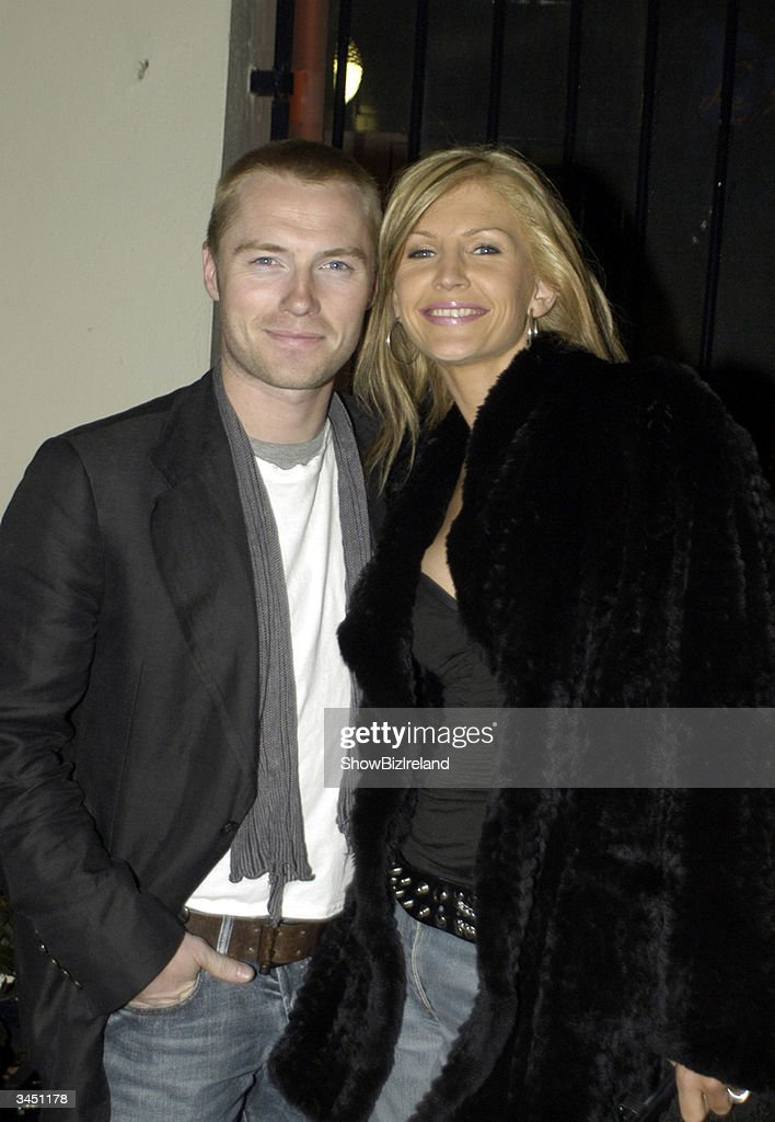 Ronan Keating and his wife Yvonne stand outside Diep Shaker Restaurant April 20, 2004 in Dublin, Ireland.