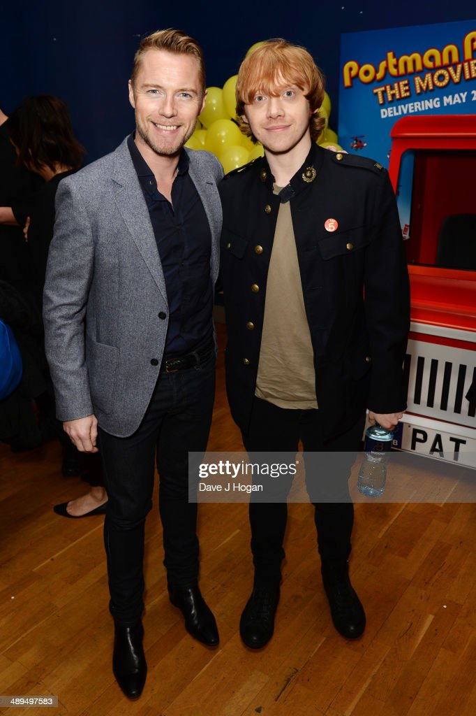 Ronan Keating and Rupert Grint attend the UK premiere of 'Postman Pat' at the Odeon West End on May 11, 2014 in London, England.