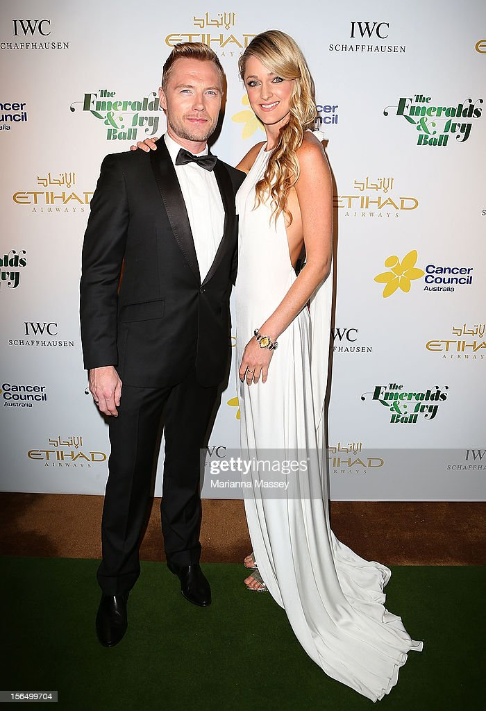 <a gi-track='captionPersonalityLinkClicked' href=/galleries/search?phrase=Ronan+Keating&family=editorial&specificpeople=201657 ng-click='$event.stopPropagation()'>Ronan Keating</a> and Storm Uechtritz arrive at The Ivy on November 16, 2012 in Sydney, Australia for the Emerald and Ivy Ball.