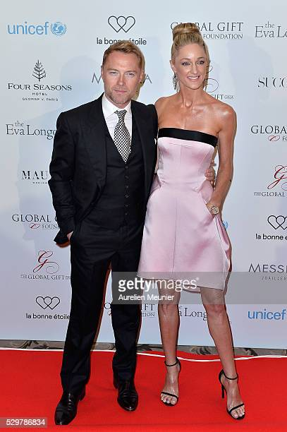 Ronan Keating and Storm Keating attend the Global Gift Gala photocall at Four Seasons Hotel George V on May 9 2016 in Paris France