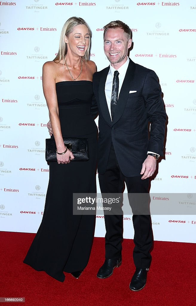 <a gi-track='captionPersonalityLinkClicked' href=/galleries/search?phrase=Ronan+Keating&family=editorial&specificpeople=201657 ng-click='$event.stopPropagation()'>Ronan Keating</a> and Storm Uechtritz attend the QANTAS Gala Dinner at Sydney Domestic Airport on April 18, 2013 in Sydney, Australia.