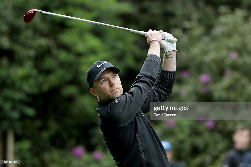 <a gi-track='captionPersonalityLinkClicked' href=/galleries/search?phrase=Ronan+Keating&family=editorial&specificpeople=201657 ng-click='$event.stopPropagation()'>Ronan Keating</a> in action during the Pro-Am prior to the BMW PGA Championship at Wentworth on May 25, 2016 in Virginia Water, England.