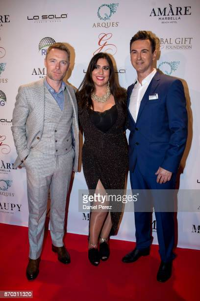 Ronan Keating Inmaculada Almeida and Mario Arques attend at the 2nd Annual Global Gift Ronan Keating Golf Tournament Dinner and Concert on November...