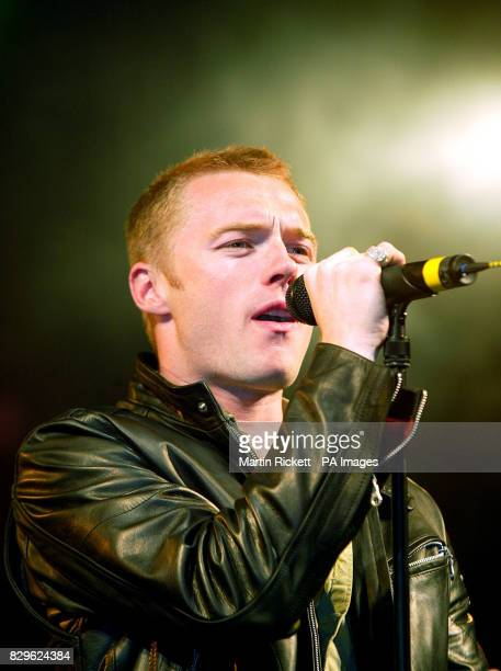 Ronan Keating performing on stage during the switching on of the Blackpool Illuminations The show was watched by 20000 people who had gathered inside...