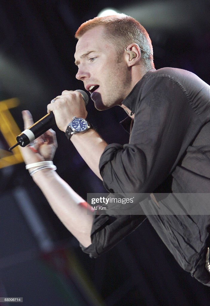 Ronan Keating performs on stage at the Live 8 Edinburgh concert at Murrayfield Stadium on July 6, 2005 in Edinburgh, Scotland. The free gig, labelled Edinburgh 50,000 - The Final Push, is organised by Midge Ure, alongside Geldof, and coincides with the G8 summit to raisie awareness for MAKEpovertyHISTORY.