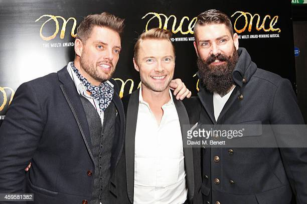 Ronan Keating poses with Boyzone members Keith Duffy and Shane Lynch attend an after party following the press night performance of 'Once' as Ronan...