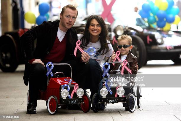 Ronan Keating with model Corinna Grant centre and Luke Gorman help launch the Marie Keating Foundation/ISPCC 'Show your Bumper Cares Appeal' outside...