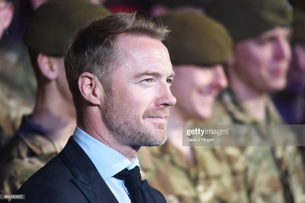 Ronan Keating with the Members of the Grenadier Guards and Scots Guards in support of the Armed Forces Fund attend the World Premiere of 'Another Mother's Son' on March 16, 2017 in London, England.
