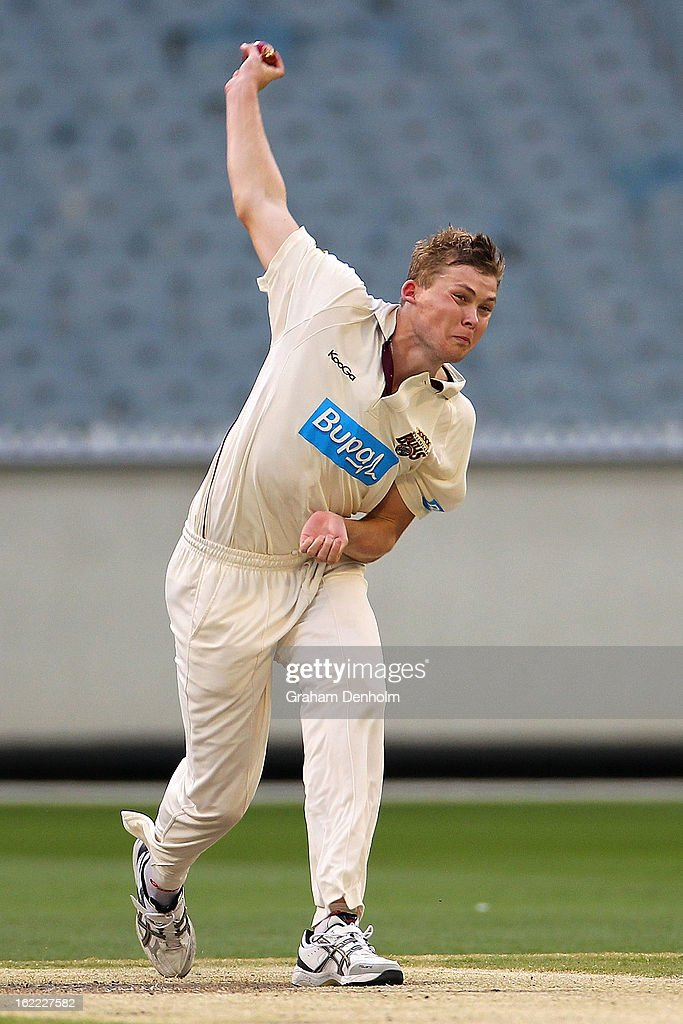 Ronan McDonald of the Bulls bowls during day four of the Sheffield Shield match between the Victorian Bushrangers and the Queensland Bulls at Melbourne Cricket Ground on February 21, 2013 in Melbourne, Australia.