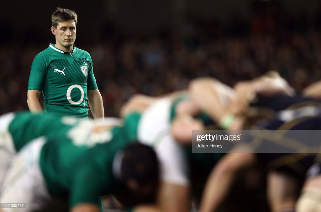 <a gi-track='captionPersonalityLinkClicked' href=/galleries/search?phrase=Ronan+O%27Gara&family=editorial&specificpeople=206865 ng-click='$event.stopPropagation()'>Ronan O'Gara</a> of Ireland looks on during the RBS Six Nations match between Ireland and Scotland at Aviva Stadium on March 10, 2012 in Dublin, Ireland.