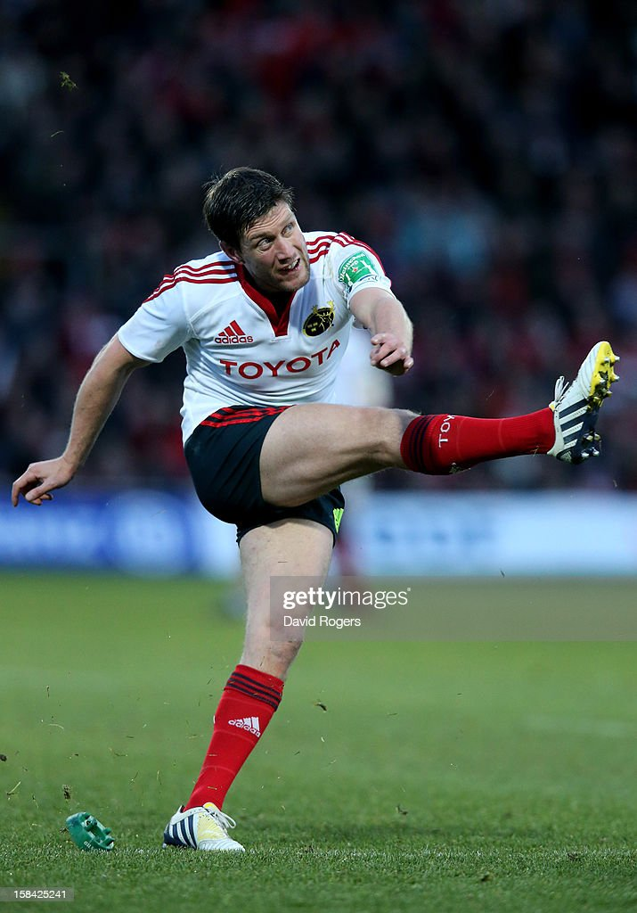 <a gi-track='captionPersonalityLinkClicked' href=/galleries/search?phrase=Ronan+O%27Gara&family=editorial&specificpeople=206865 ng-click='$event.stopPropagation()'>Ronan O'Gara</a> of Munster kicks at goal during the Heineken Cup pool one match between Saracens and Munster at Vicarage Road on December 16, 2012 in Watford, United Kingdom.