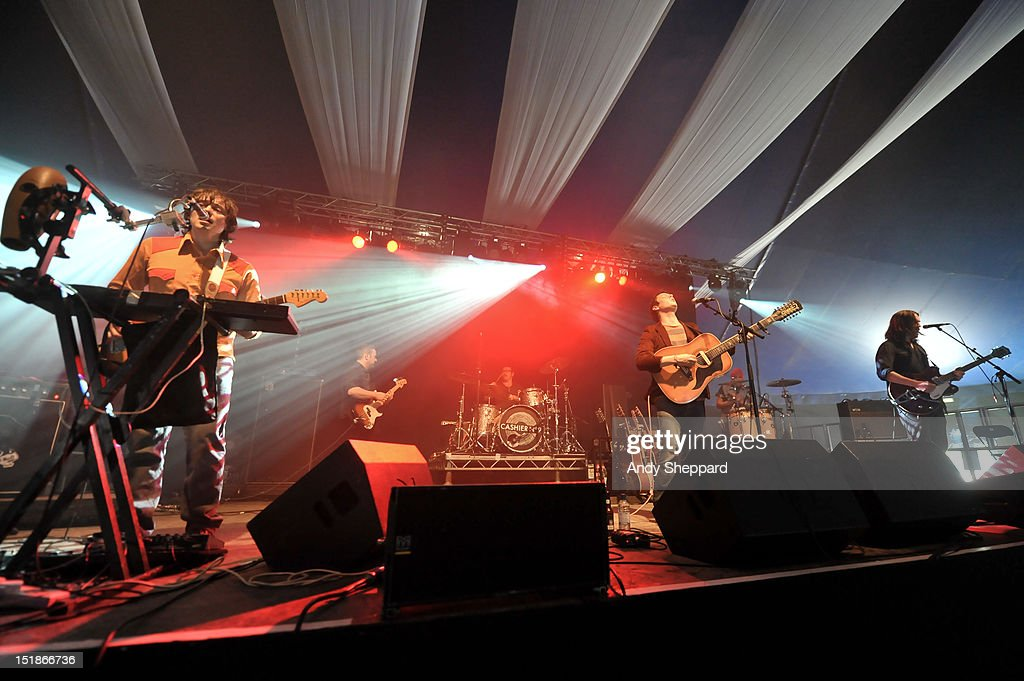 Ronan Quinn, Stuart MacGowan, Philip Duffy, Daniel Todd and James Smith of the band Cashier No.9 perform on stage during End Of The Road Festival 2012 at Larmer Tree Gardens on August 31, 2012 in Salisbury, United Kingdom.