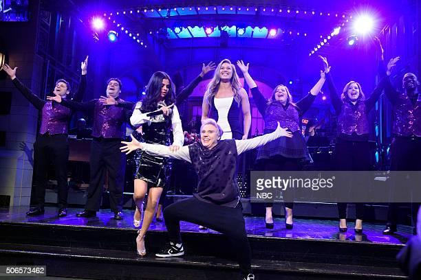 LIVE 'Ronda Rousey' Episode 1694 Pictured Jon Rudnitsky Bobby Moynihan Selena Gomez Kate McKinnon as Justin Bieber Ronda Rousey Aidy Bryant Vanessa...