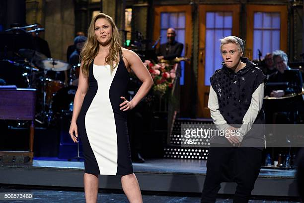 LIVE 'Ronda Rousey' Episode 1694 Pictured Ronda Rousey and Kate McKinnon as Justin Bieber during the monologue on January 23 2016