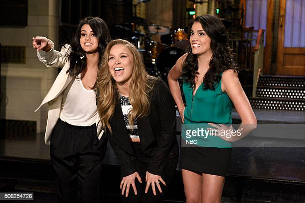 LIVE 'Ronda Rousey' Episode 1694 Pictured Singer Selena Gomez mixed martial artist Ronda Rousey and Cecily Strong on January 21 2016