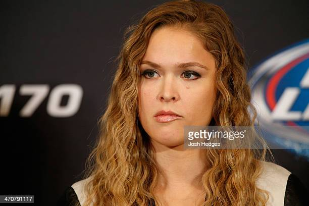 Ronda Rousey interacts with media during the final UFC 170 prefight press conference at the Mandalay Bay Resort and Casino on February 20 2014 in Las...