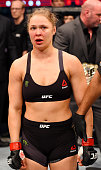 Ronda Rousey looks on after losing her championship title by KO to Holly Holm in two rounds of their UFC women's bantamweight championship bout...