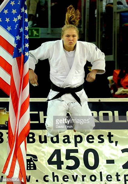 Ronda Rousey of the USA warms up at the side of the mat before entering for the final and winning the u63kg gold medal at the Budapest Junior World...