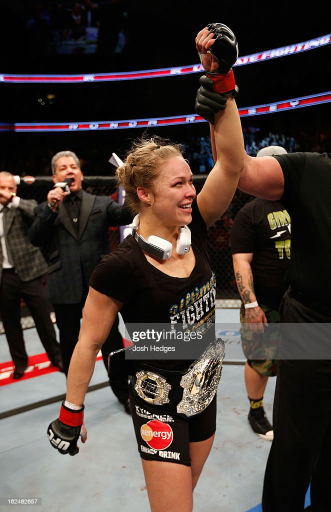 Ronda Rousey reacts to her victory over Liz Carmouche in their women's bantamweight title fight during UFC 157 at Honda Center on February 23, 2013 in Anaheim, California.