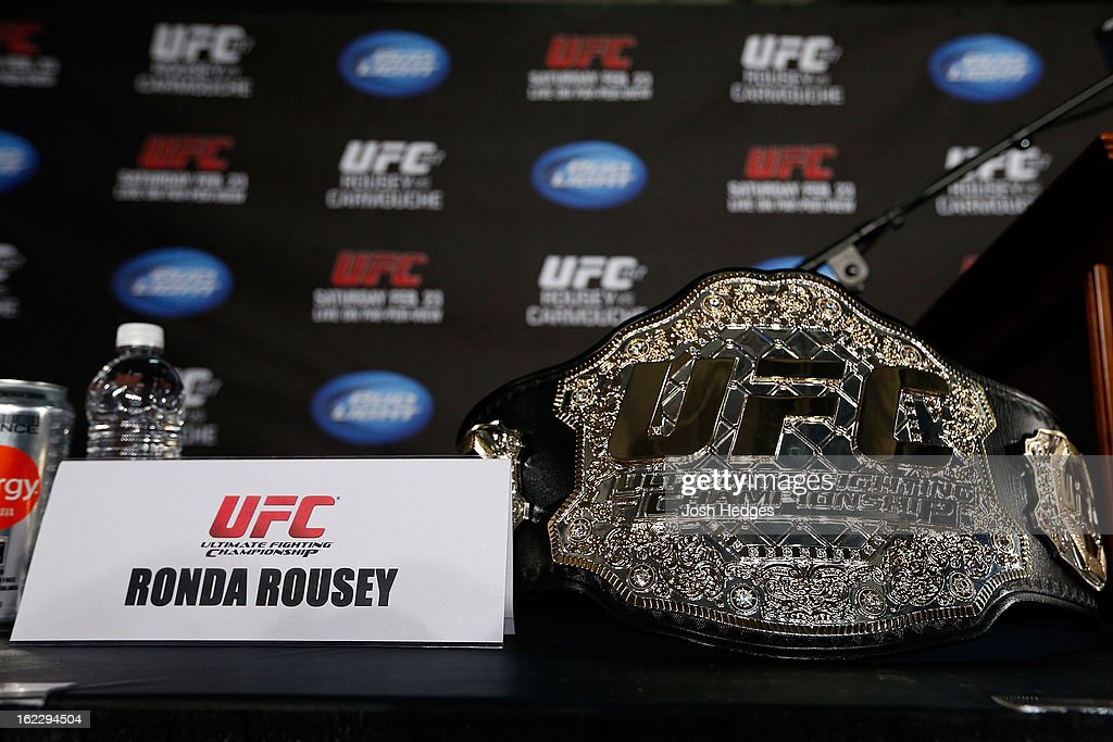 Ronda Rousey's UFC bantamweight championship belt is seen on a table before a UFC pre-fight press conference at Honda Center on February 21, 2013 in Anaheim, California.