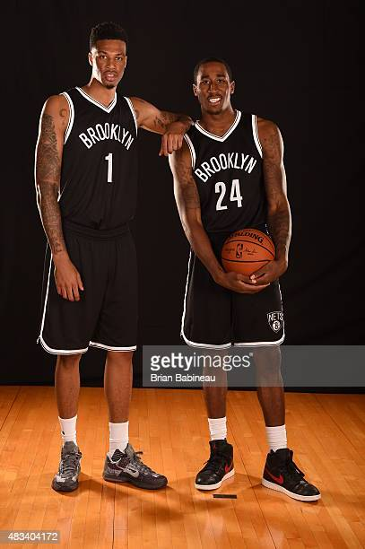 Rondae HollisJefferson and Chris McCullough of the Brooklyn Nets poses for a portrait during the 2015 NBA rookie photo shoot on August 8 2015 at the...